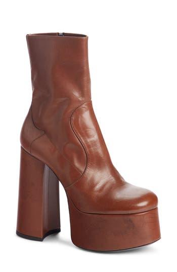 Saint Laurent Billy Kangaroo Leather Platform Boot, Brown