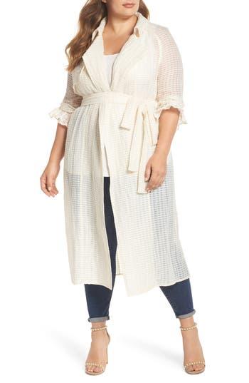 Plus Size Elvi The Farah Textured Trench Coat, US / 8 UK - Ivory