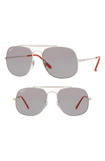 Ray-Ban 57Mm Polarized Aviator Sunglasses - Silver