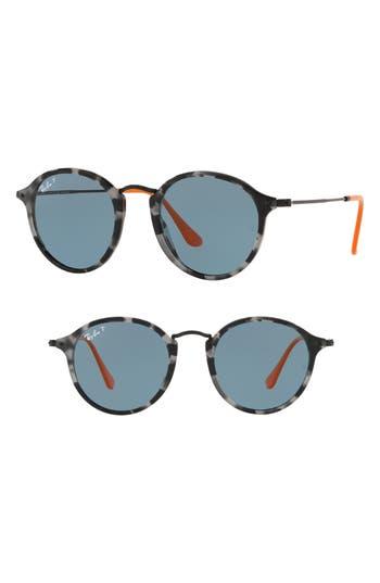 Ray-Ban 4m Polarized Round Sunglasses - Dark Grey Tortoise