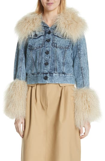 Sea Jocelyn Genuine Shearling Trim Denim Jacket, Blue