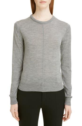 Chloe Scallop Detail Wool Sweater, Grey
