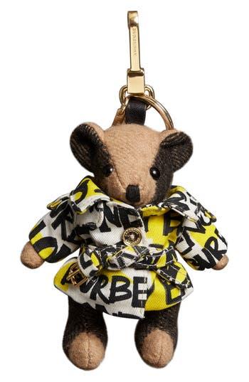 Burberry Thomas Bear Graffiti Logo Trench Cashmere Bag Charm - Brown