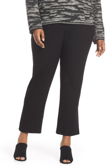 Plus Size Eileen Fisher Flare Ankle Pants, Black