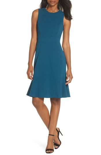 Eliza J Flounce Hem Scuba Sheath Dress, Blue/green