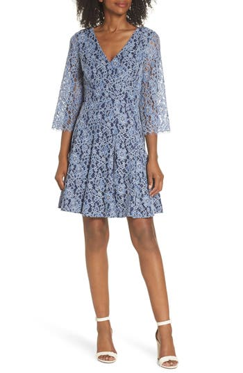 Eliza J Lace Fit & Flare Dress, Blue