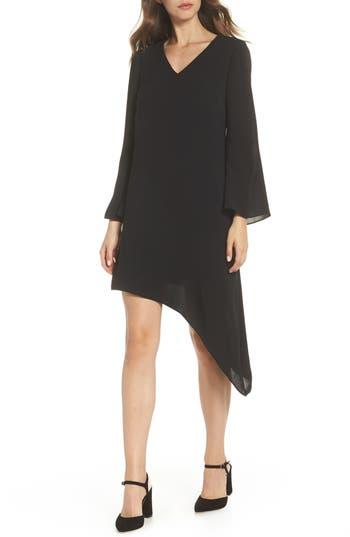 Adrianna Papell Gauzy Crepe Asymmetrical Trapeze Dress, Black
