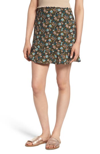 Bp. Floral Flounce Skirt, Black