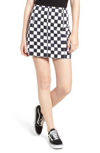 Tinsel Checkered Denim Miniskirt, Black