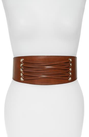 Halogen Laced Corset Stretch Faux Leather Belt, Cognac