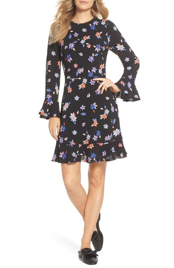 Eliza J Floral Flare Cuff Dress, Black