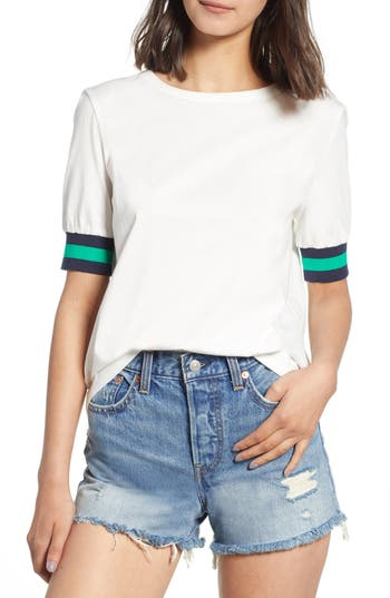 Currently In Love Sport Stripe Tee, White