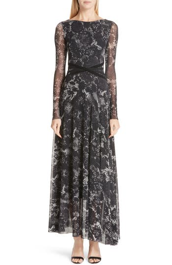 Fuzzi Crisscross Waist Floral Tulle Dress, Black