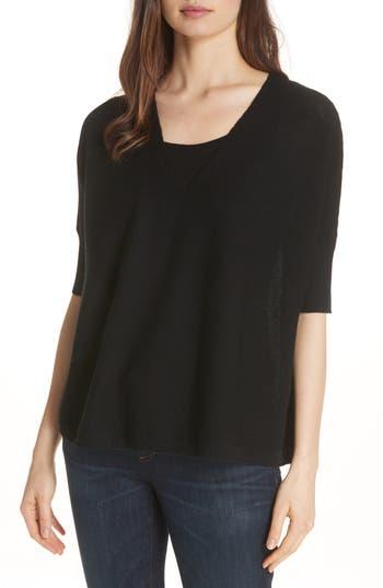Eileen Fisher Merino Wool Three Quarter Sleeve Sweater, Black