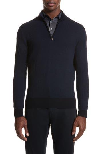 Canali Quarter Zip Wool Sweater, US / 4 R - Blue