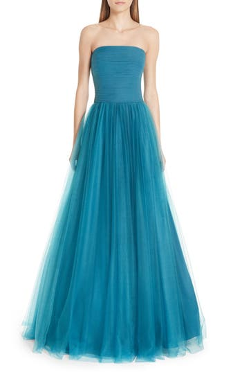 Badgley Mischka Platinum Strapless Tulle Ballgown, Blue/green