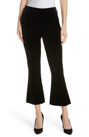 Frame Split Hem Flare Leg Velvet Pants, Black
