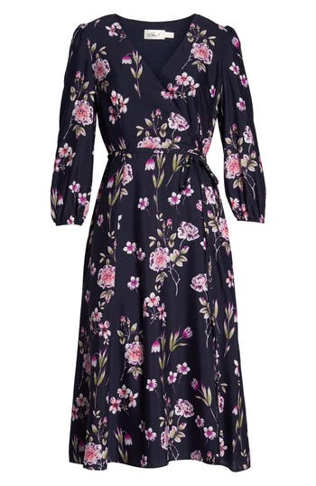 Eliza J Floral Print Wrap Dress, Blue