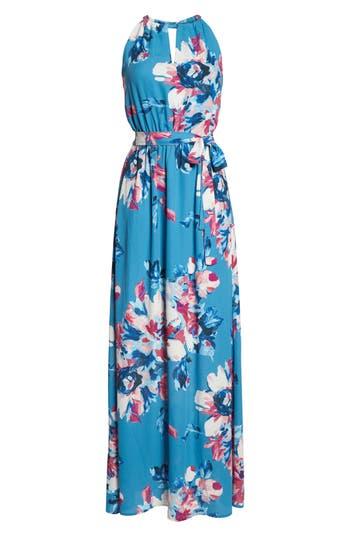 Charles Henry Floral Maxi Dress, Blue
