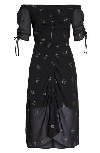 Sam Edelman Off The Shoulder Foil Print Dress, Black