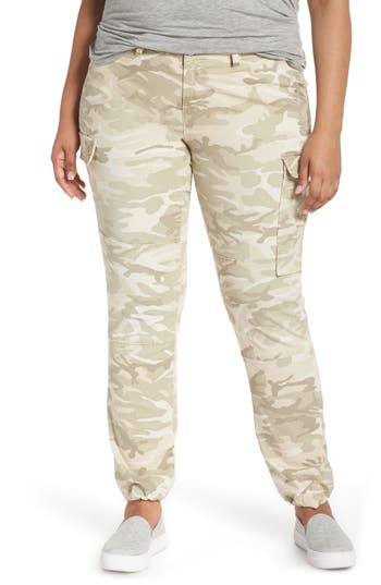 Plus Size Slink Jeans Camo Twill Cargo Pants, Ivory
