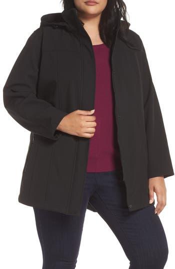 Plus Size Kristen Blake Hooded Soft Shell Jacket, Black