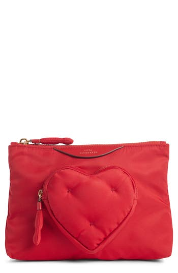 ANYA HINDMARCH Chubby Heart Nylon Pouch - Red