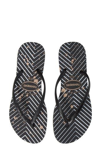 Havaianas Slim Logo Metallic Striped Flip Flops In Black  Silver ... 3f3a4bd33