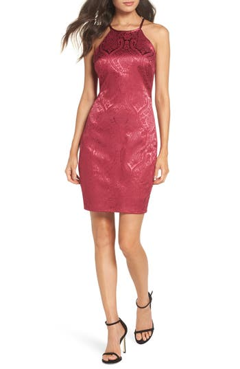 Sequin Hearts Satin Jacquard Cocktail Sheath, Red