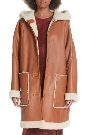 Elizabeth And James Carver Genuine Shearling Coat, Brown