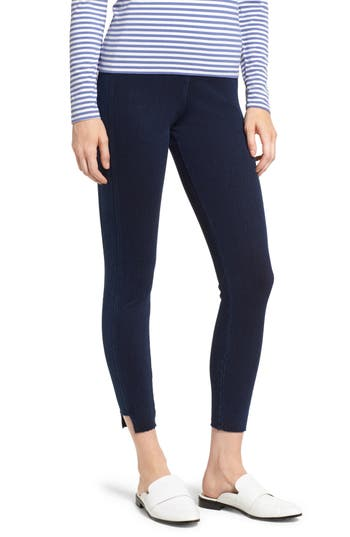Lysse Step Hem Denim Leggings, Blue