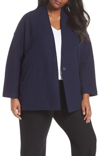 Plus Size Eileen Fisher Wool Kimono Jacket, Blue