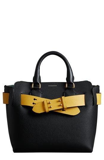 Burberry Small Contrast Belt Leather Tote - Black