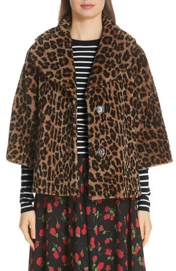 Michael Kors Leopard Print Crop Sleeve Genuine Shearling Coat, Brown