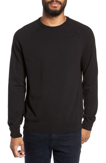 French Connection Regular Fit Stretch Cotton Crewneck Sweater, Black