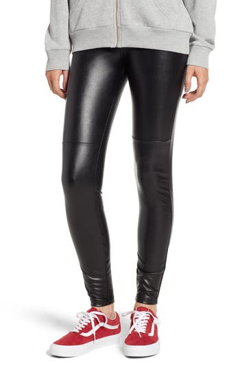 Hue Faux Leather Leggings, Black