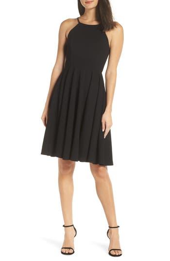 Lulus Halter Neck A-Line Cocktail Dress, Black