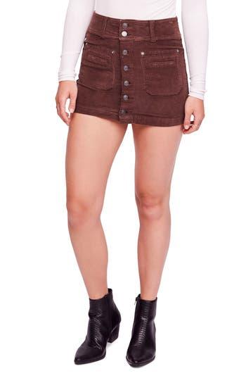 Free People Joanie Corduroy Miniskirt, 7 - Brown