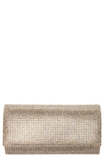 Crystal Embellished Clutch - Metallic, Gold
