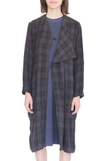 Vintage Coats & Jackets | Retro Coats and Jackets Womens Simple By Trista Asymmetrical Plaid Linen Coat Size LargeX-Large - Grey $237.60 AT vintagedancer.com