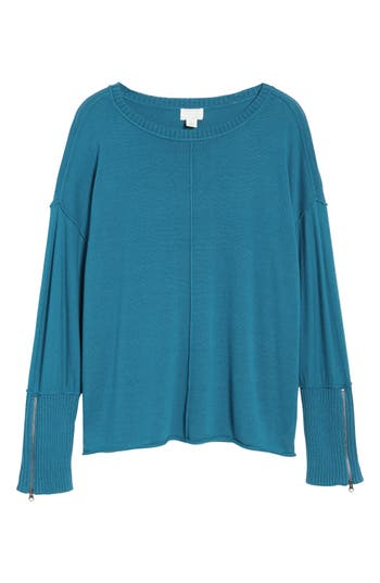 Caslon Zip Cuff Sweater, Blue/green