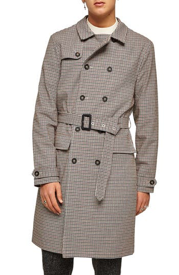 60s 70s Men's Jackets & Sweaters Mens Topman Houndstooth Trench Coat Size XX-Large - Brown $140.00 AT vintagedancer.com