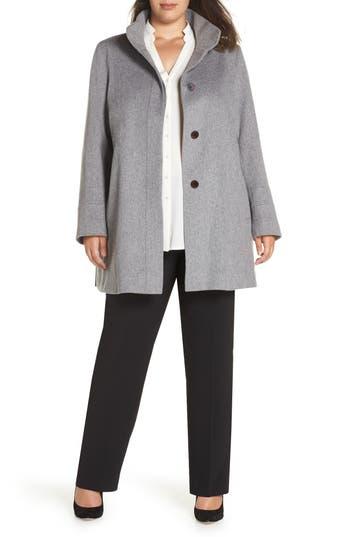 Plus Size Fleurette Placket Front Wool Car Coat, Grey