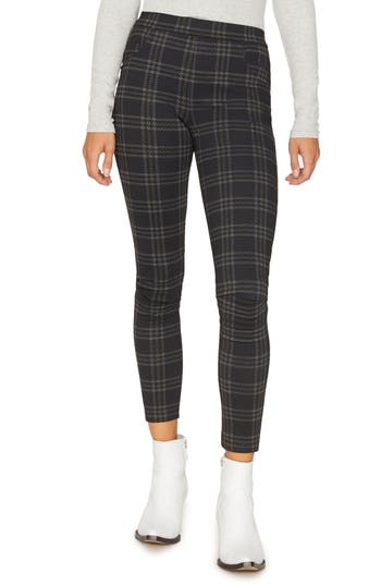Sanctuary Grease Plaid Leggings, Black