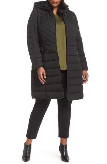 Plus Size Bernardo Stretch Quilted Walker Coat, Black