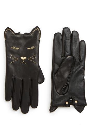 Ted Baker London Cat Leather Touchscreen Gloves, Black