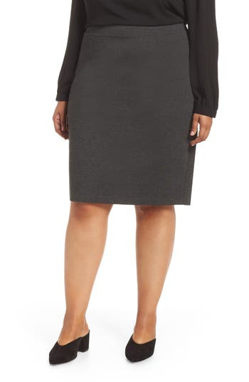 Plus Size Halogen Ponte Pencil Skirt, 8 (similar to 16W) - Grey