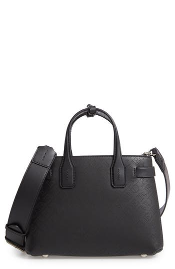 Burberry Small Banner Perforated Leather Tote - Black