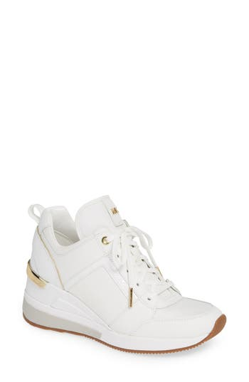 Georgie Wedge Sneaker, Optic White Fabric