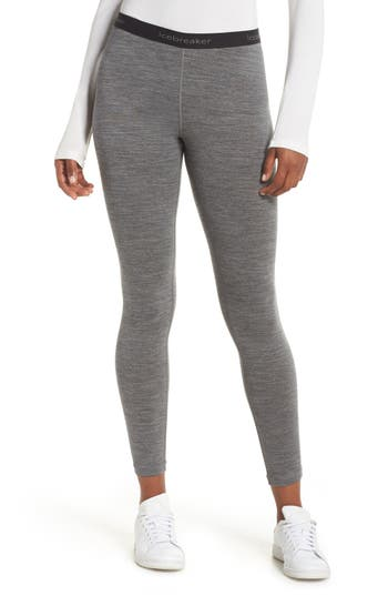 Icebreaker Oasis Slim Merino Wool Jersey Base Layer Leggings, Grey